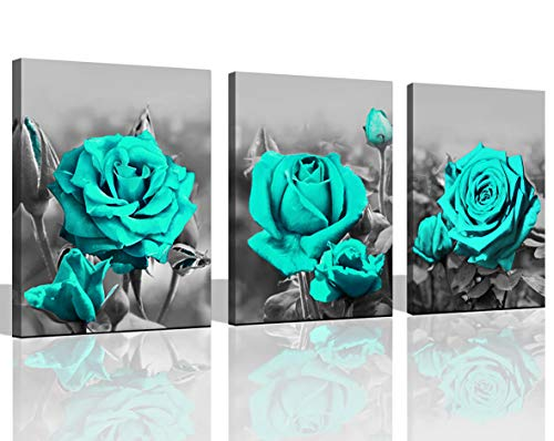 Wall Art for Bedroom Simple Life Black and White Blue Rose Flowers Canvas Wall Art Decor 12