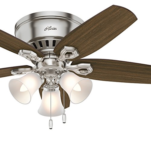 Three Light Nickel Cherry - Hunter Fan 42 inch Low Profile Traditional Ceiling Fan in New Bronze - Three-Light Fitter with Cased White Glass (Renewed) (Brushed Nickel)