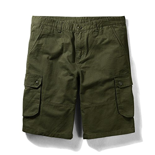 OCHENTA Men's Classic Loose Fit Twill Cargo Shorts Army Green 40