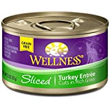 Wellness Natural Canned Grain Free Wet Cat Food, Sliced Turkey, 3-Ounce Can (Pack of 24)