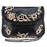 Mary Frances Night Bloom Embroidered Leather Crossbody Handbag