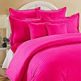 Rinku Linen 400 Thread Count 100% Egyptian Cotton 4-Piece Sheet Set Three Quarter/Small Double/Antique Size (48'' x 75'') Hot Pink Stripe Fit Up To 12'' Deep Mattress