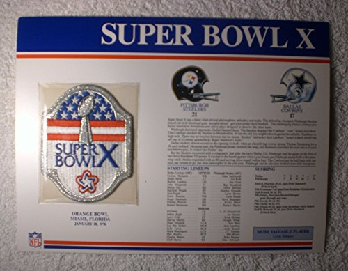 Super Bowl X (1976) - Official NFL Super Bowl Patch with complete Statistics Card - Pittsburgh Steelers vs Dallas Cowboys - Lynn Swann MVP (Steelers Super Bowl Patches compare prices)