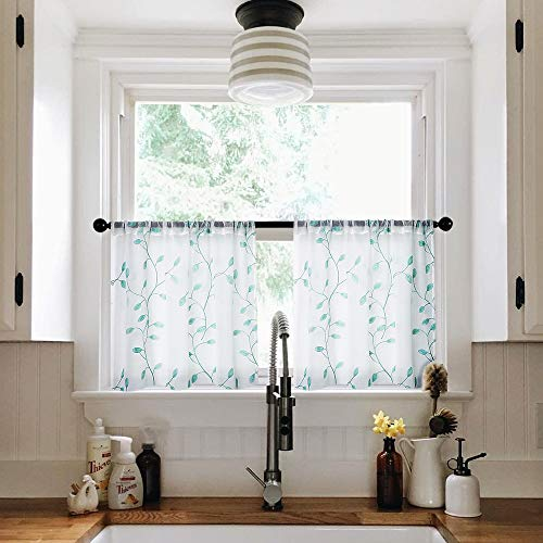 MRTREES Sheer Tier Curtains 24 inch Length Embroidered Kitchen Tiers Bathroom Voile Rod Pocket Short Window Treatment 2 Panels Aqua Blue Leaves Embroidery ()
