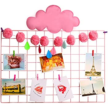 """Multifunction Grid Panel, Wall Decor Sculptural Frames Holders Wall Display Organizer, Size: 25.6"""" x 17.7"""", Pack Of 2 Pcs, ( Pink )"""