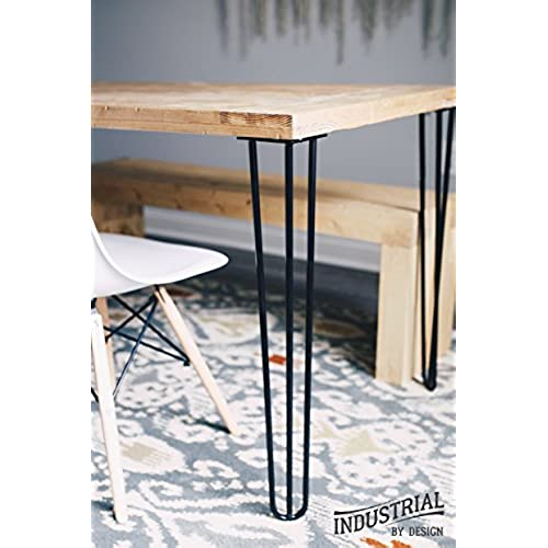 Cast iron table legs amazon 28 hairpin legs satin black three rod industrial strength mid century modern set of 4 table legs watchthetrailerfo
