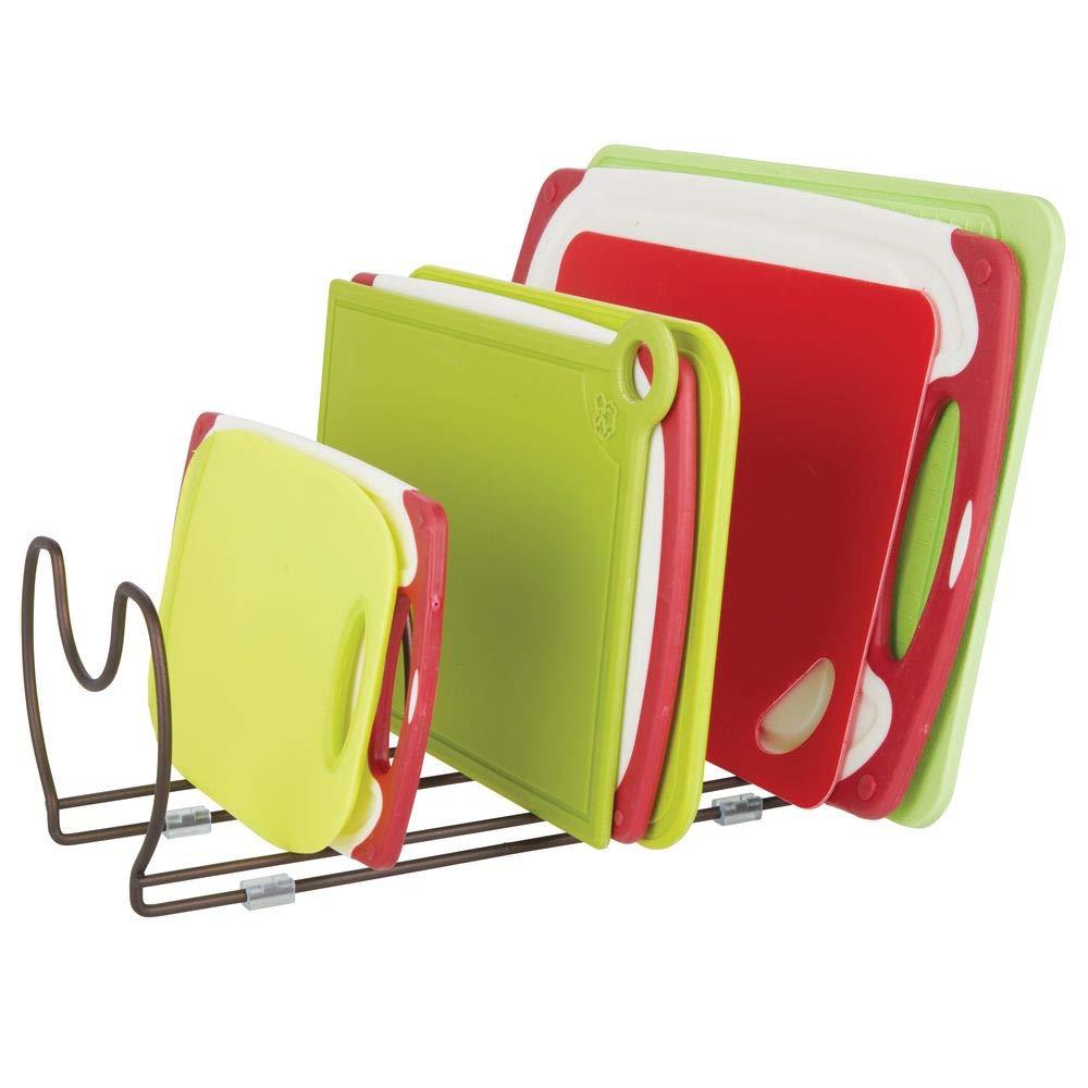 mDesign Juego de 2 soportes para sartenes, ollas y tapas - Organizador de tapas de ollas compacto para el armario de la cocina - Colgador de sartenes de ...