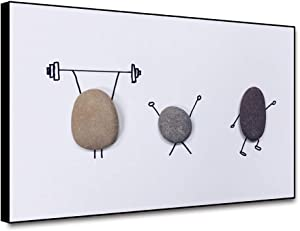 Renaiss 20x16 Inches Gym Wall Decor Canvas Wall Art Cobblestone Fitness Weightlifting Simple Drawing Painting Minimalist Creativity Picture Giclee Prints for Living Room Spa Yoga Wall Decor Unframed