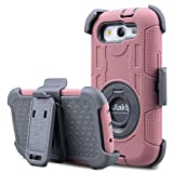 Galaxy S3 Case, S3 Case,ULAK Heavy Duty Anti Slip S3 Case Rugged Hybrid Rubber Shockproof Protection Hard Shell Cover for Samsung Galaxy S3 III i9300 with Belt Clip Holster Kickstand (Rose Gold+Grey)