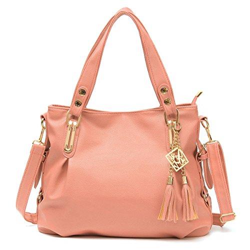 OURBAG Women's Handbag Soft Leather Tote Shoulder Bag with Tassels Pink (Cheap Designer Bags)
