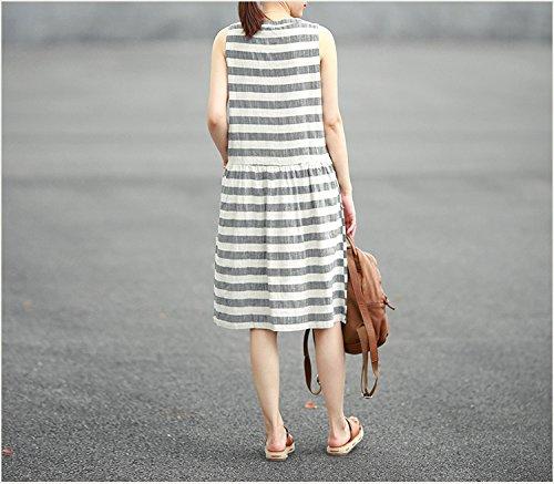 in der langen abschnitt von baumwolle gestreiften kleid lässig kleid