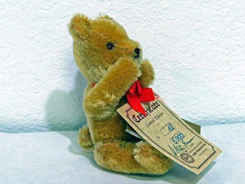 Hermann Teddy Original 'NO NO BEAR' 5.5 inches Tan #18 of 5,000. 100 % Mohair. Signed by G.G. Hermann ()