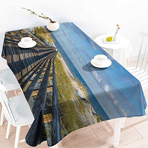 familytaste Party Table Cloth,Seaside Decor Collection,Deck to The Alabama Gulf Coast Timber Honeymoon Travel Destinations Summer Image,Blue Green Ivory 70