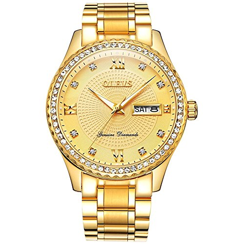 Diamond Watch Quality (Watches for Men Waterproof Gold Calendar Date Window Watches Business Stainless Steel Analog Quartz Watch Roman Numeral Classic Wristwatch with Luminescence Display Additional Free Battery Tools OLEVS)