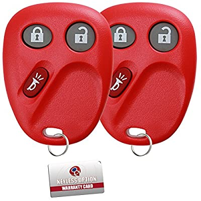 KeylessOption Keyless Entry Remote Control Car Key Fob Replacement for LHJ011-Red (Pack of 2): Automotive