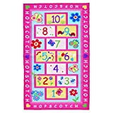KEPSWET Girl Children Hopscotch Game Rug Pink Kid Nursery Classroom Play Carpet Bedroom Floor Mat Rectangle (39.3 inch x 59 inch, Pink)