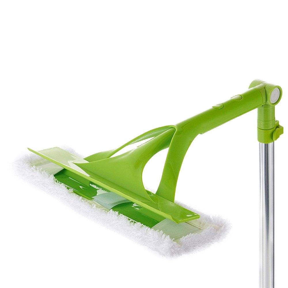 Telescopic Foldable Handle Cleaning Glass Sponge Mop Cleaner Window Extendable (Green)
