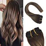 Sunny 14inch Clip in Hair Extensions Human Hair Color #4 Dark Brown Fading to #27 Caramel Blonde Highlighted #4 Dark Brown Human Hair Clip in Extensions 7pcs 120g