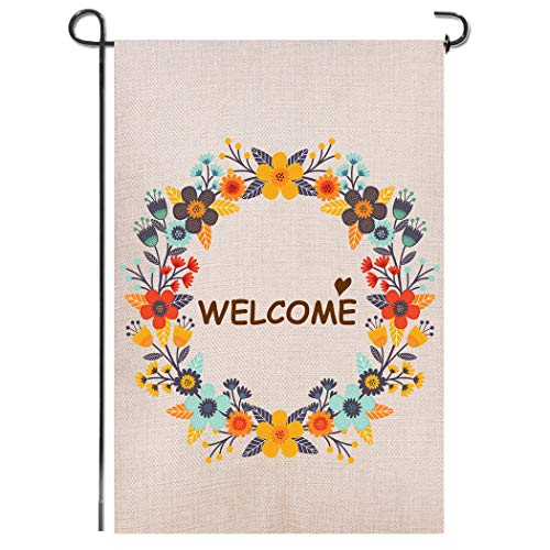 Shmbada Spring Flowers Welcome Double Sided Burlap Garden Flag, Premium Material, Seasonal Spring Summer Outdoor Funny Decorative Small Flags for Home House Garden Yard Lawn Patio, 12.5 x 18.5 inch