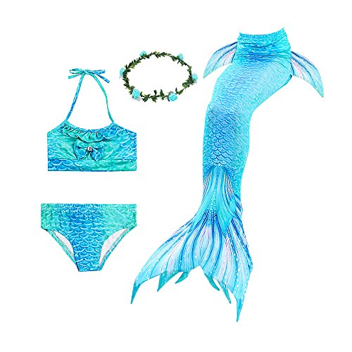 Ubetoone 3Pcs Mermaid Tails for Swimming Swimsuit Bikini Mermaid Party Supplies (Dolphin Mermaid, Child XL (8Y-9Y)) ()