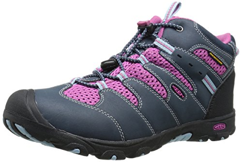 [KEEN Koven Mid WP Hiking Boot (Little Kid/Big Kid), Midnight Navy/Dahlia Mauve, 3 M US Little Kid] (Boots Shoes For Kids)