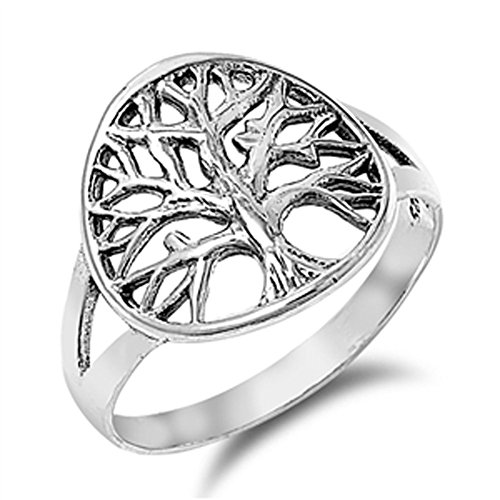 Women's Tree of Life Beautiful Ring New .925 Sterling Silver Band Size 8