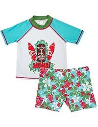ThreeH Boys Rashguard Set 2 Piece Swimwear Set T-Shirt and Trunks Swmisuit BM05