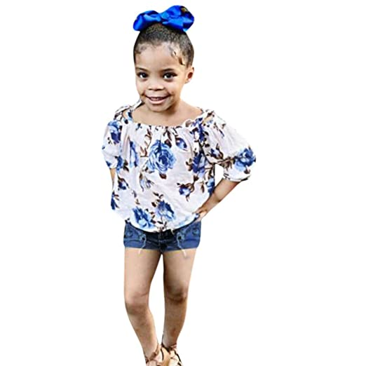 3c7a33f10fa88 Amazon.com: SiQing 2PC Summer Toddler Kids Girl Bow Suspender Straip Blue  Floral Print Tops Jeans Shorts Hole Pants Set Baby Girls Outfit: Clothing