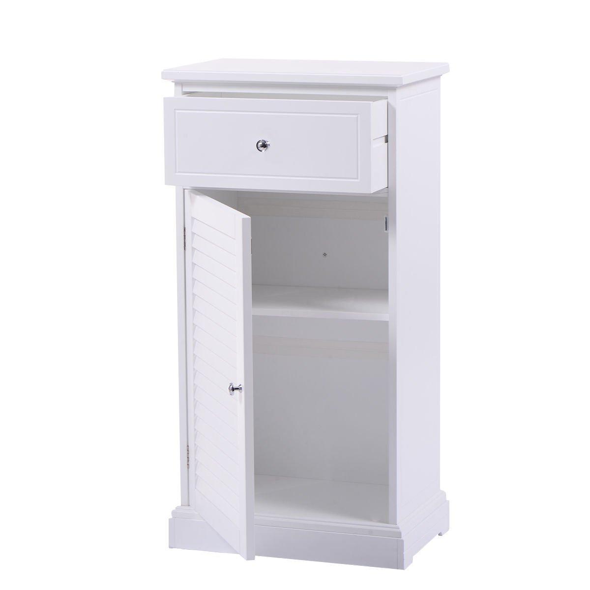 Storage Floor Cabinet Wall Shutter Door Bathroom Organizer White Cupboard Shelf