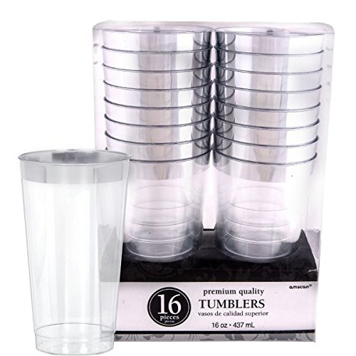 Amscan Reusable Party Tumblers Trim Premium (Pack of 16), Clear/Silver, 16 oz