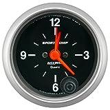 AutoMeter 3385 Sport-Comp Clock 2-1/16 in. Black Dial Face White Incandescent Lighting Electric Quartz 12 Hour Sport-Comp Clock