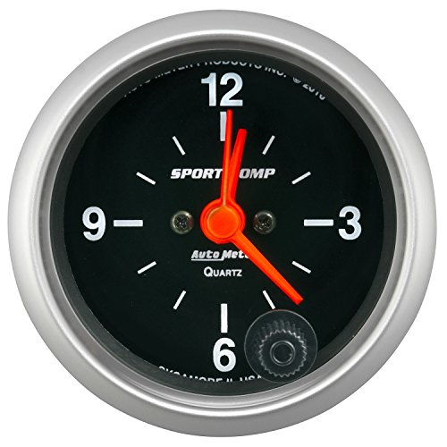 Autometer Clock - AutoMeter 3385 Sport-Comp Clock 2-1/16 in. Black Dial Face White Incandescent Lighting Electric Quartz 12 Hour Sport-Comp Clock