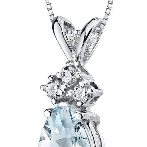 Revoni 14ct or blanc 585/1000 en forme de poire 0.50 Carats Aigue-marine diamant pendentif Collier