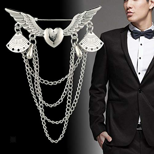 6.2 x 8.2cm/2.4 x 3.2inch Brooch Pins Badge for Mens Long Tassel Corsage (Color - Silver)