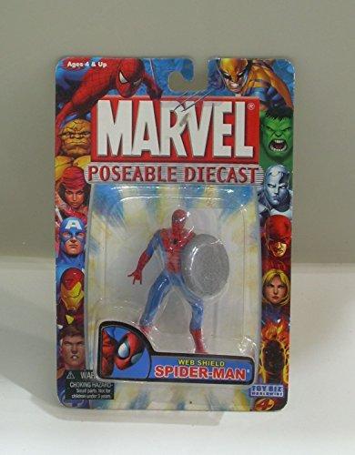 Marvel Poseable Diecast Web Shield Spider-Man Figure by Toy Biz
