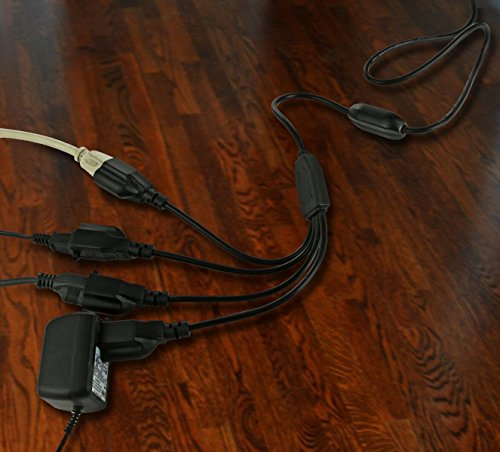 4 in 1 Extension Cord :: Ingenious 250V Power Cable with 3 Prong Plug + 4 Connectors : 5.10 Ft Long, Extends Power Range, Reduces Clutter, Powers 4 Devices, Black by Homerygardens™ by Homerygardens™ (Image #5)