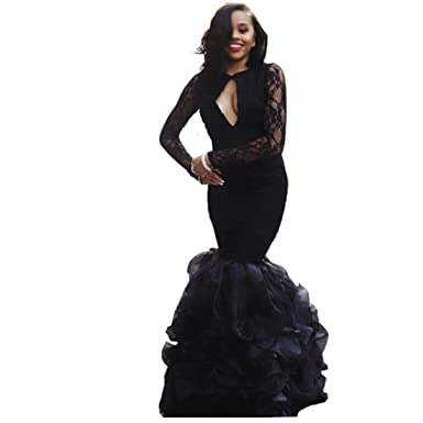 3ab71a264362f Image Unavailable. Image not available for. Color: Chady Black Lace Mermaid  Prom Dresses ...