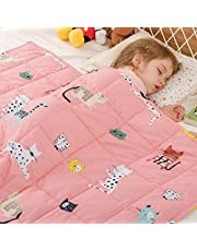 Cottonblue Weighted Blanket for Kids 5lbs 36 x 48, 100% Natural Cotton Kids Weighted Blanket and Premium Glass Beads,Skin-Friendly Heavy Blanket for Kids 40 50 60lbs, Pink Cat