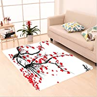 Nalahome Custom carpet House Decor Sakura Blossom Japanese Cherry Tree Summertime Vintage Cultural Artwork Red Black area rugs for Living Dining Room Bedroom Hallway Office Carpet (22x36)