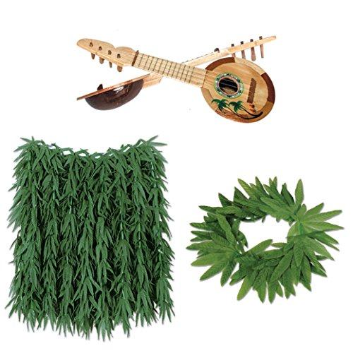 Bstl co Adult/Older Children Luau Skirt, Fern Lei, and Wooden Ukulele (Ukulele Lei)