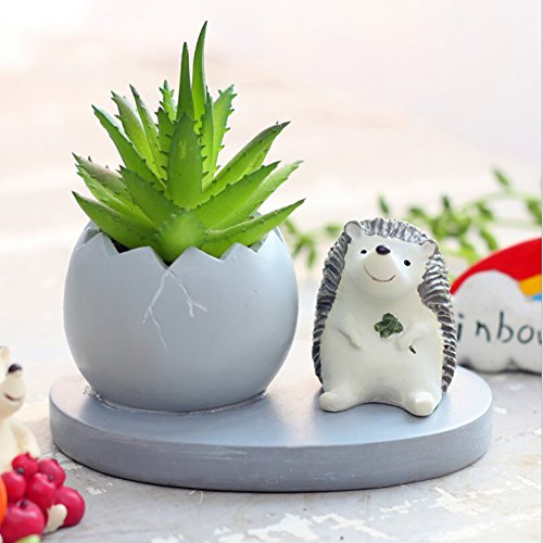 Messagee Cute Hedgehog Succulent Pots With Drainage Resin