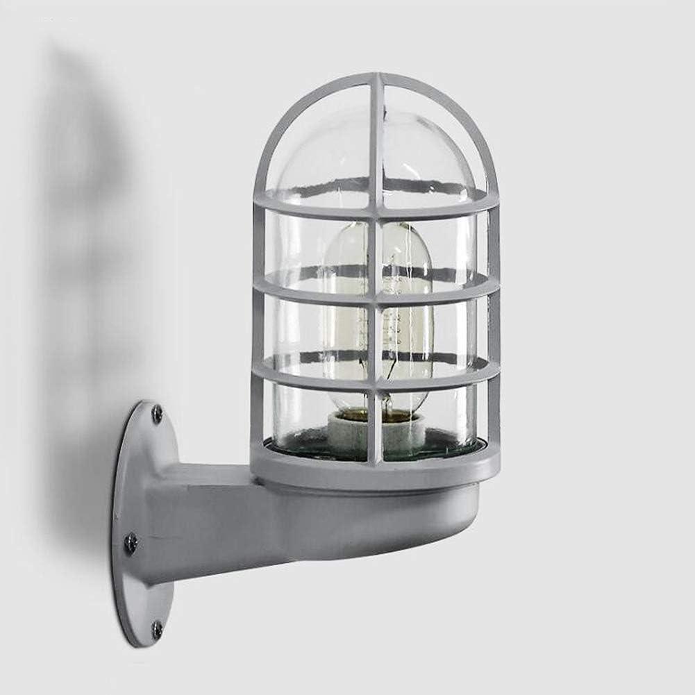 Lyghtzy® Retro Diseño industrial Jaula colorida Lámpara de pared con mampara Aplique con vidrio para sala de estar Baño Loft Garaje Puerta principal Patio trasero (Gris): Amazon.es: Iluminación