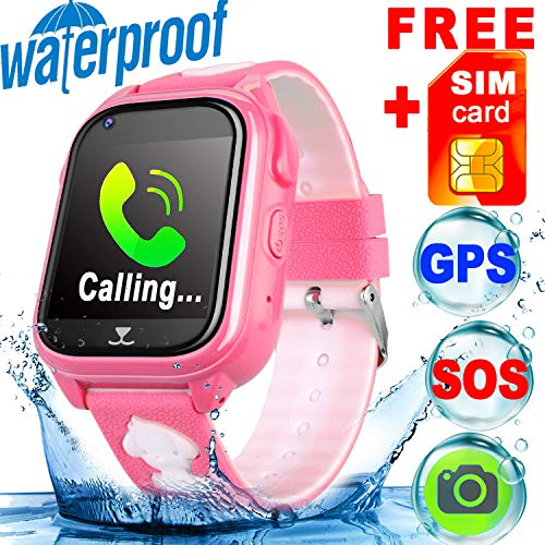 [SIM CARD Included] IP68 Waterproof Kid Smart Watch Phone GPS Tracker for Girls Boys Fitness Tracker SOS Camera Anti-lost Game Sport Watch Swim Run Wrist Summer Outdoor Live Mobile App for IOS/Android