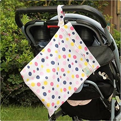 Baby Wasserdicht Reißverschluss Tasche waschbar wiederverwendbar Baby Tuch Windel Tasche w/Tiere und Blumen Muster Beige, 1pc blue dot, NO.1 Liroyal
