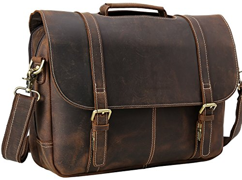 Iswee Flap Over Messenger Bag Leather Laptop Bag Briefcase Handbag Shoulder Bag For Men(Dark Brown) (Flap Over Computer Briefcase)