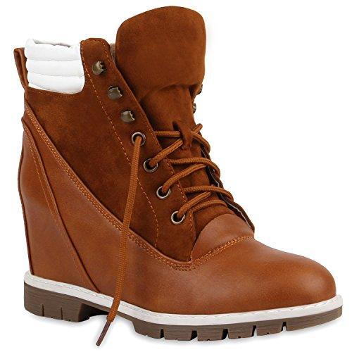 Stiefelparadies Damen Keilstiefeletten Boots Keilabsatz Schuhe Stiefeletten Wedges Schnürstiefeletten Profilsohle Damenschuhe Schnürer Flandell Braun