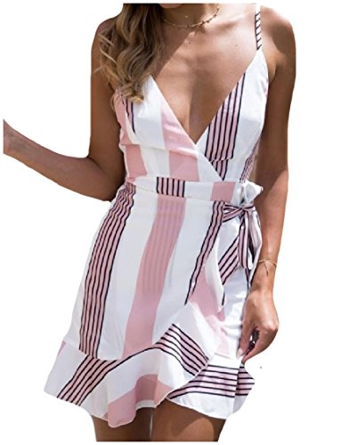 Pink Beach Dresses Sexy Sling V Rise Neck Women Coolred Floral Printed Mid 4PwqHnZg