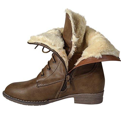 Damen Stiefel Stiefeletten warm gefüttert Schnürboots Boots Worker ST159 Camel