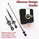 Dhorcas (#07) 3/4'' Threaded Motor and Black 3 1/2'' Hands and Hanger, Quartz Clock Movement Kit for Replacement