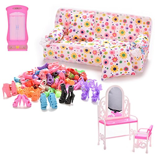 Suriel 1 Set Dollhouse Furniture for Play House with Wardrobe Closet Sofa Couch 2 Cushions Dresser & Chairs 30 Pairs Doll Shoes for Barbie price
